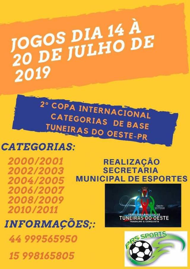 2ª Copa Internacional Categorias de Base - 14/07 a 20/07/2019